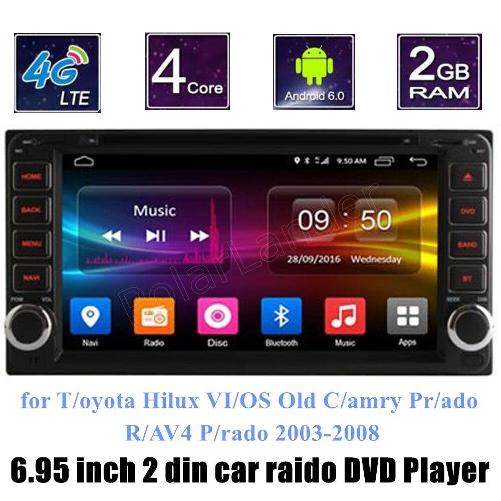 Для T/oyota Hilux VI/OS Старый C/amry Pr/шума R/AV4 P/rado 2003 2008 АВТОМОБИЛЬ DVD GPS стерео dvd плеер поддержка камеры заднего вида