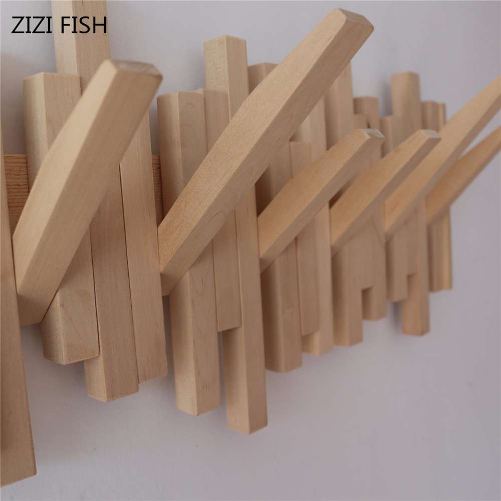 Creative Natural wood hooks wall coat hanger coat rack clothes hanger American family wall type pianos