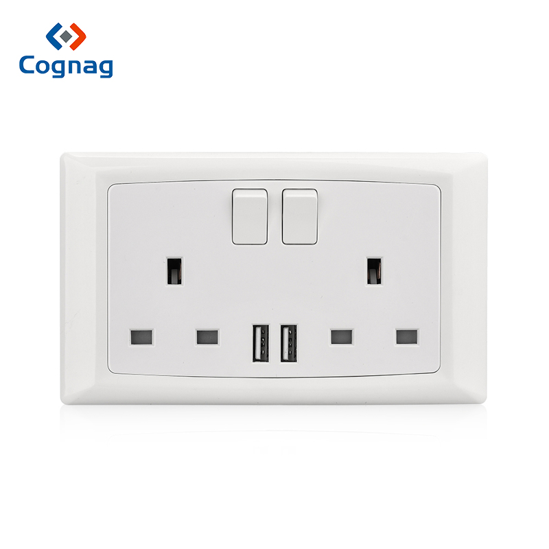 Cognag White British 2 gang 13A double wall socket with dual USB charge port