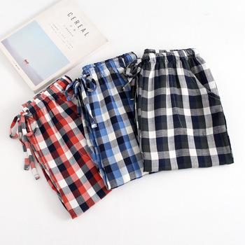 2018 wiosna jesień nowy bielizna nocna męskie spodnie codzienne piżama Hombre Pantalon bawełna Plaid uśpienia spodnie męskie spodnie i spódnice Q1351 tanie i dobre opinie Mężczyźni Spać dna Czesankowej 12345 COTTON M L XL red blue green