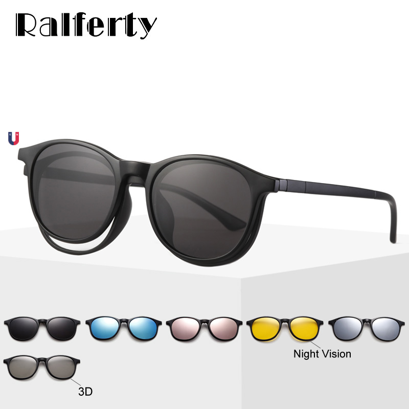 Ralferty <font><b>6</b></font> <font><b>In</b></font> <font><b>1</b></font> Magnet <font><b>Sunglasses</b></font> Women Polarized Eyeglass Frame With Clip On Glasses Men Round UV400 TR90 3D Yellow Oculo A2245 image
