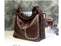 free shipping Personality rivet fashionable deruta women's bag coffee real leather shoulder bag size 45*40cm
