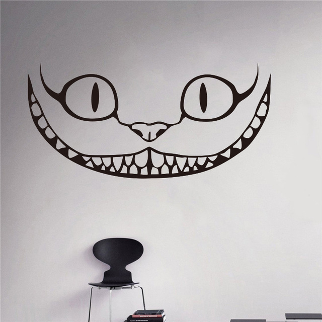Smiling Cheshire Cat Vinyl Decal Alice in Wonderland Wall