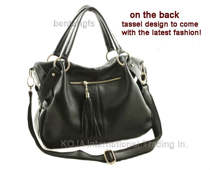 FREE SHIP Factory Price Hot Fashion Fringe Women s Tote Black Genuine  leather(Real Leather)Handbag Shoulder Bag Messenger Purse-in Crossbody Bags  from ... dee7fc040d72e