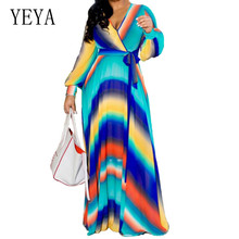 YEYA Casual Long Sleeve Vintage Floral Chiffon Maxi Dress Sexy Deep V Neck Hollow Out Floor-length Dress Women Robe De Plage morgan morgan m1181rgw