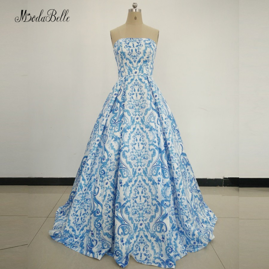 Modabelle femmes robes de soirée bleu Satin Long imprimé motif robes d'occasion spéciale 2017 dubaï élégant Floral robe de bal