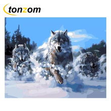 RIHE Ferocious Wolf Drawing By Numbers DIY Mountains Painting Handwork Cuadros Decoracion Oil Art Coloring Home Decor