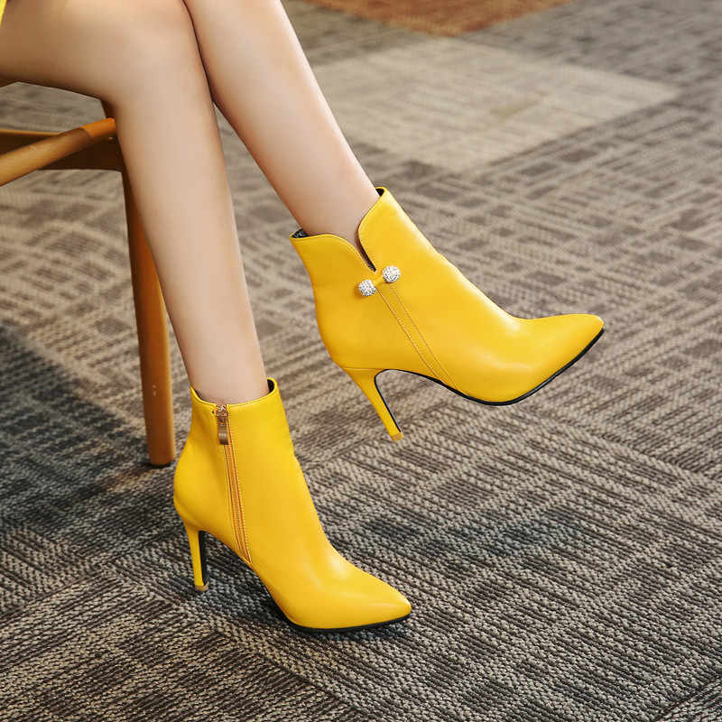 a437f618765 YMECHIC Fashion Stiletto Yellow White High Heel Ankle Boots Female Crystal  High Heels Short Boots Women