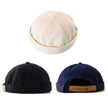 24f726619d 56-58 cm rétro unisexe Docker marin Biker casquette hommes décontracté  casual Brimless crâne boucle bonnet chapeau solide femmes.