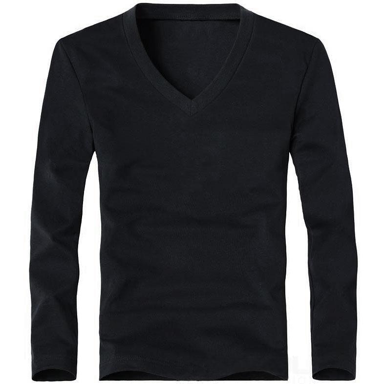 Elastic Mens T-Shirt V-Neck Long Sleeve Men T Shirt For Male Lycra And Cotton T-Shirts Man Clothing TShirt 26