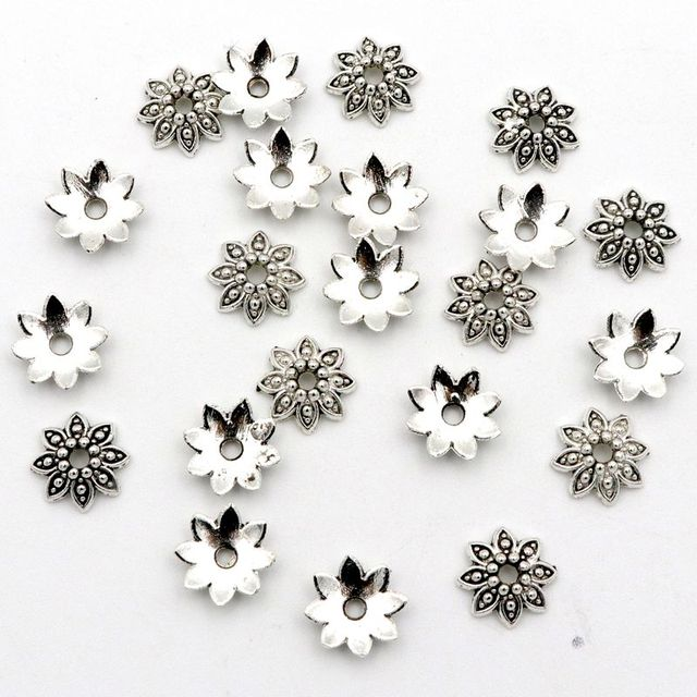 100Pcs 8 Petals Flower Loose Sparer End Bead Caps for Jewelry Making Finding Diy