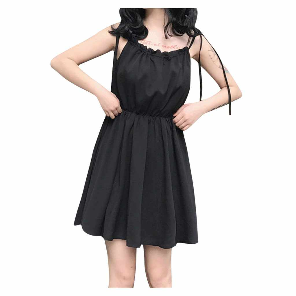 Feitong Fashion Women Sexy Sleeveless O-Neck Pure Color Mini Dress Sexy Party Club Beach Fit And Flare Dress Sundress Vestidos