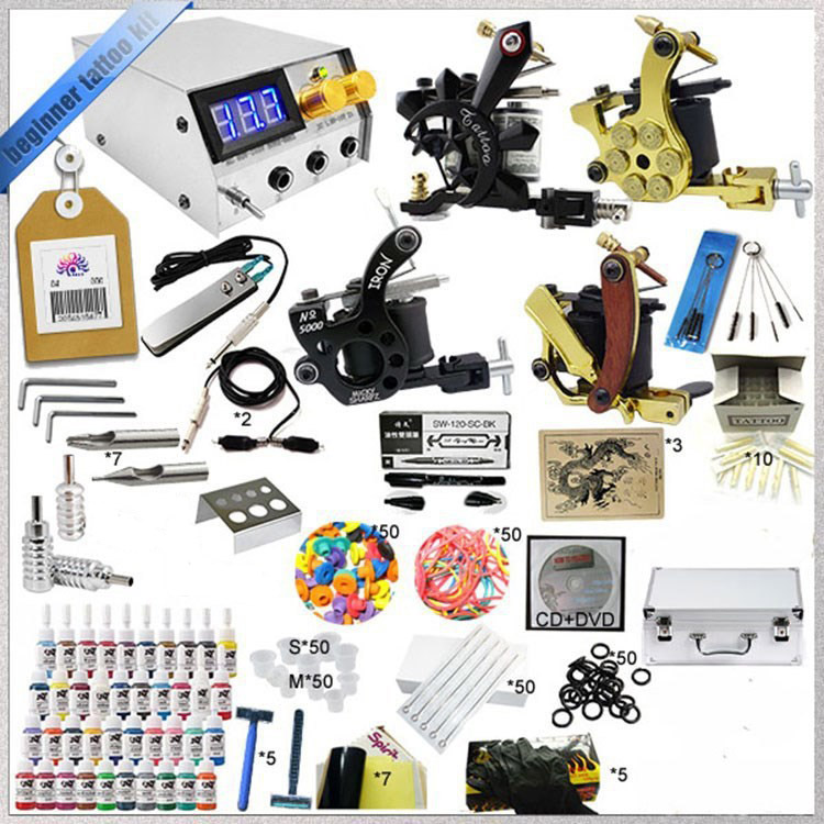 Top quality ink tattoo kit full set accessary 4 gun tattoo machine kits 2517 kits hot tattoo kit full set accessary tattoo kit machine gun power supply needles grip tip ink
