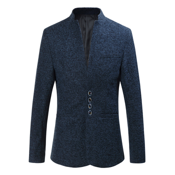 High Quality Men Blazer Brand New Slim Fit Casual Dress Suit Jackets Plus Size Stand Collar Long Sleeve Autumn Winter Blazer Men