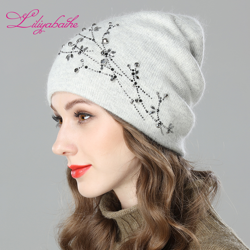 LILIYABAIHE Women Autumn And Winter Hat Angora Knitted Skullies Beanies Cap Diamante Blossom Decoration Hats For Girls
