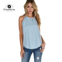 Eileen Elisa Halter Blouses Shirts 2017 Women Summer Blouse Sleeveless Casual Vest Tops Shirt