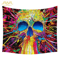 ROMORUS Funny Skull Tapestry Hippie Wall Hanging Tapestries Colorful Print Home Decor Fabric Wall Cloth Tapestry Indian Mandala