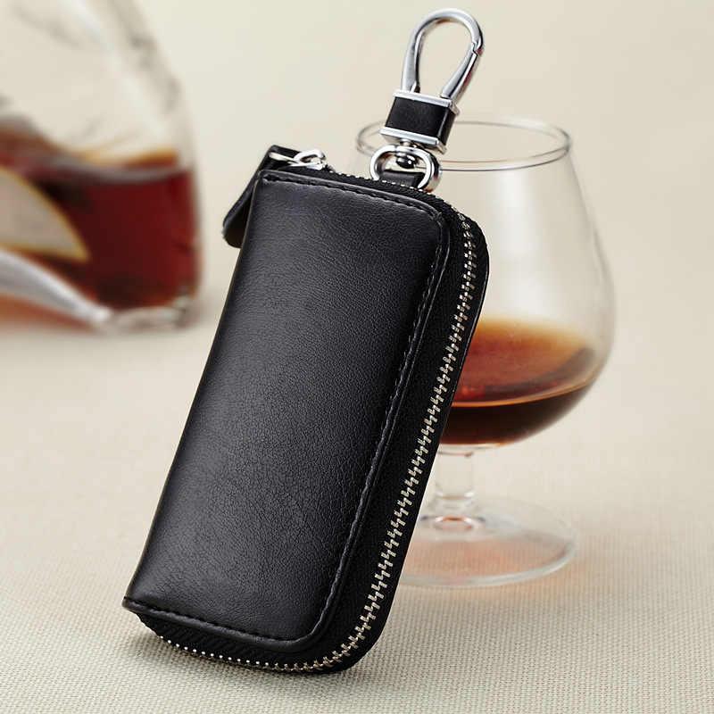 Кошелек для ключей из натуральной кожи для мужчин и женщин, сумка для ключей от машины, многофункциональный чехол для ключей, модная дамская ключница, ключница, 6 колец, QB19