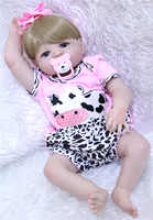 55cm Full Body Silicone Reborn Baby Doll Toys fake baby reborn blond hair wig blue/brown eyes bebe gift reborn bonecas