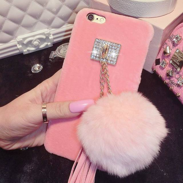 sports shoes bac4c 93c5b US $4.99 |SUYACS Hot Fluffy Crystal Buckle Tassels With Colorful Fur Ball  Phone Case For iphone 6 6S Plus 7 Plus Phone Bags & Case YC1302-in Fitted  ...