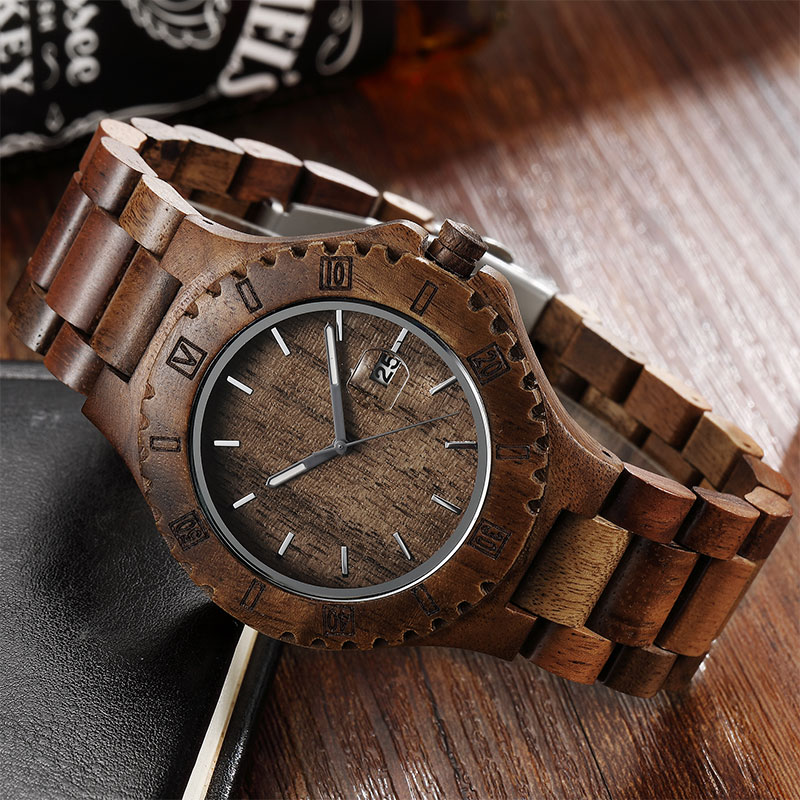 Casual Wood Watch For Male Natural Wooden Quartz Wristwatch Calendar Engraved Bamboo Wooden Watch Men 2018 simple casual wooden watch natural bamboo handmade wristwatch genuine leather band strap quartz watch men women gift page 4