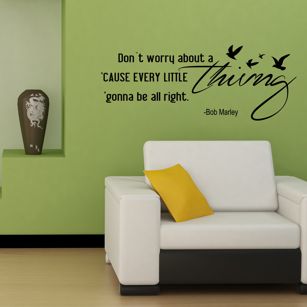 Dont Worry About a Thing Bob Marley Song Lyrics Quote wall stickers home  decor for Housewares Vinyl Wall Decal 22  x8  in Hair Clips   Pins from  Beauty. Dont Worry About a Thing Bob Marley Song Lyrics Quote wall