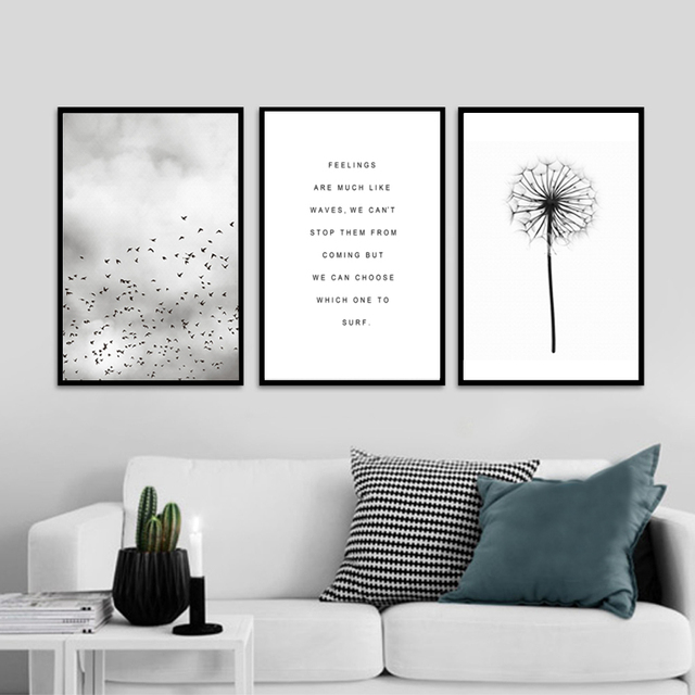 abstract landscape quotes canvas painting black white poster print nordic wall art picture for living room