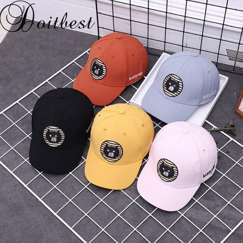 Doitbest 2 To 5 Years Spring Children Baseball Cap Boys Girls Cartoon Kitty Snapback Adjustable Baby Kids Hip Hop Hat Sun Cap