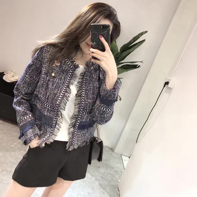 4a79316415 New 2019 Autumn Winter Small Fragrant Tweed Jacket Coat Women Fashion  Cardigan Long Sleeve Tassels Fringed