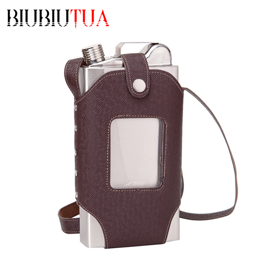 BIUBIUTUA Big Capacity 35 OZ Stainless Steel Whiskey Flasks Removable Brown Transparent Holster Buckle Hip Flask