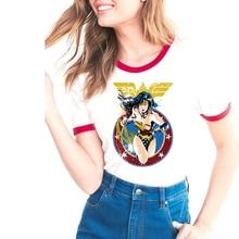 Летние топы популярная Футболка с принтом чудо-Женщины Милая забавная футболка с героями мультфильмов Женская Повседневная футболка с коротким рукавом