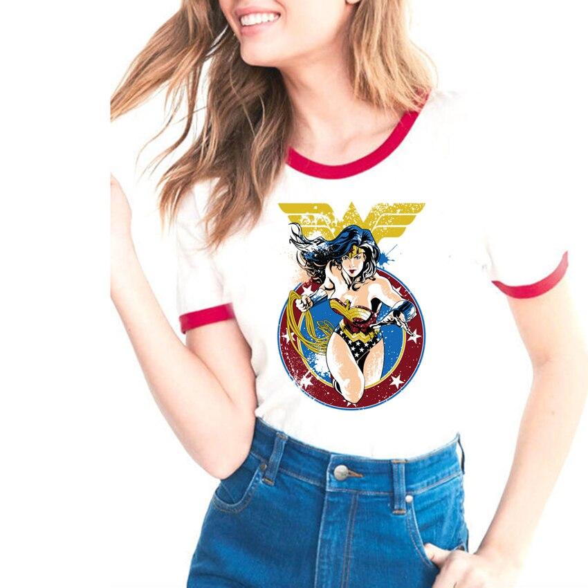 Topos de verão 2018 Hot Anime Mulher Maravilha T-shirt Impresso Lovelty Engraçados Dos Desenhos Animados T Shirt Mulher de Manga Curta Ocasional Das Senhoras T