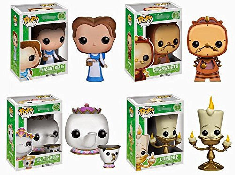 Original Funko pop BEAUTY AND THE BEAST - Clock Cogsworth, Peasant Belle Vinyl Figure Collectible Model Toy with Original Box