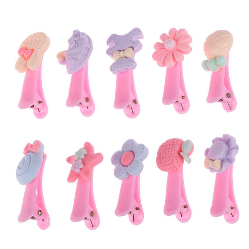 20 piezas Clip accesorio 1Set horquilla Color mezcla pasador bebé horquilla y caja linda flor sólida dibujos animados hecho a mano niños niña cabello