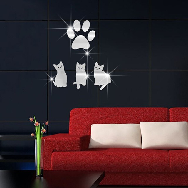 miroir mur art cristal chat pattes stickers muraux amovible auto adhsif mural stickers vinyle accueil - Decoration Stickers Muraux Adhesif