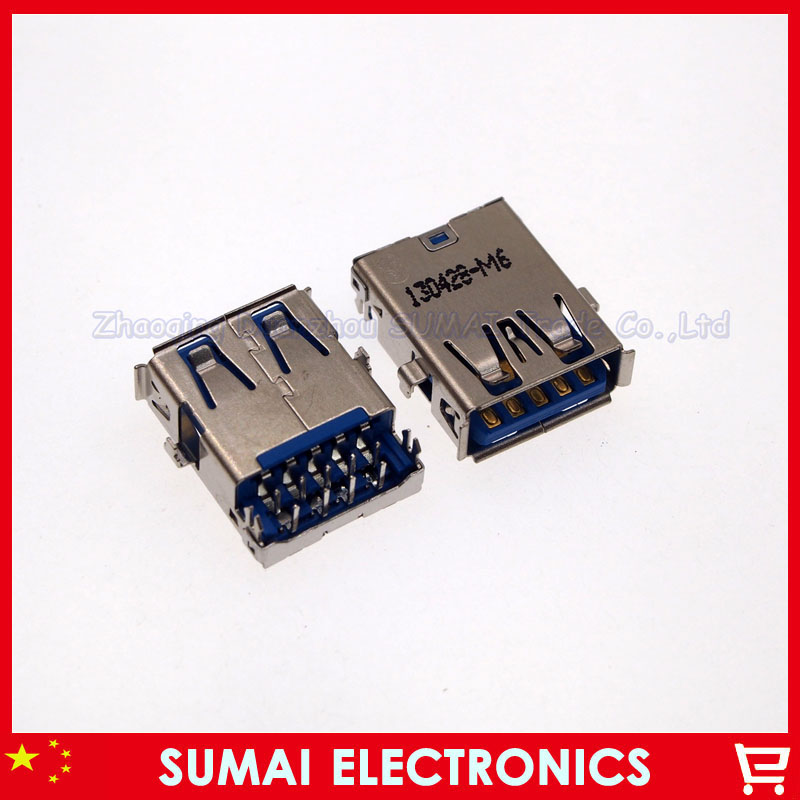 10pcs/lot Original New USB 3.0 USB Jack USB 3.0 female socket for Samsung / DELL / Acer / ASUS/...ect