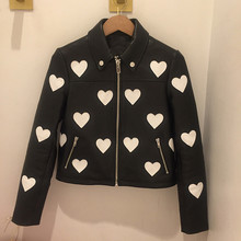 Women's Brand new design love-hearts leather jackets 2019 spring autumn real leather jackets Chic sheepskin biker jackets A384