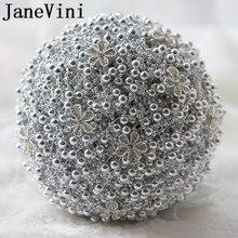 JaneVini Silver Pearls Rhinestone Wedding Bouquet Luxury Crystals Artificial Rose Bridal Bouquets Bride Ramo Novia Para Lanzar