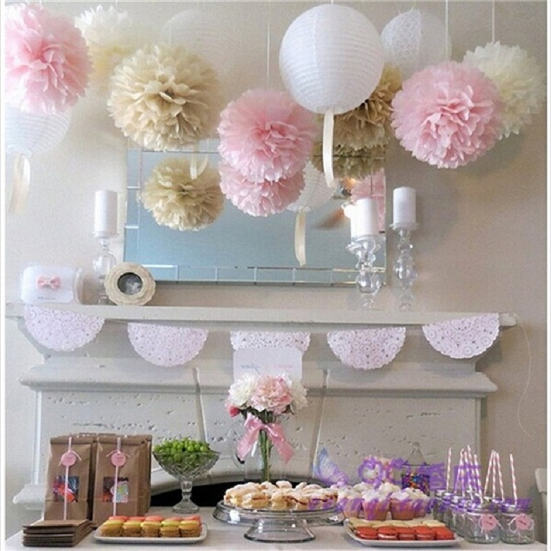6pcs/set Handmade 10 Tissue Paper Pom Poms Paper Flower Ball For Home Garden Wedding Birthday Party Xmas Car Decoration Finely Processed 25cm