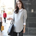 2016 new spring and autum maternity shirts dress knitted elastic shirts pregnant shirts plus size women's tops