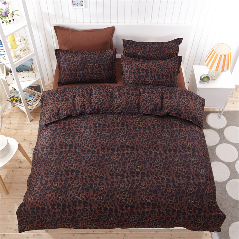 2016 new sexy leopard chocolate 4pc bedding set adult kid bedroom set queen full twin double for Full size bedroom sets for adults