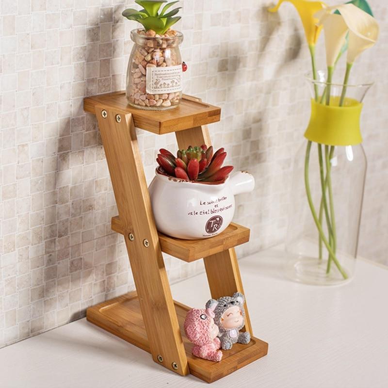 3 Tier Bamboo Flower Rack Flowerpot Rack Small Plants Table Stand Flower  Display Holder Shelf Kitchen