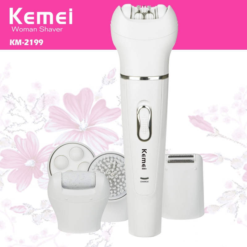 Kemei Rechargeable Lady's Electric Hair Shaver For Bikini Underarm Body 5 In 1 Hair Removal Epilator Shaving Tools KM-2199 kemei titanium blade electric lady wet dry shaver washable body hair trimmer removal epilator for bikini face underarm p00