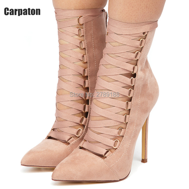 612cf33c7f9c Pink Black Ribbon Lace up Pointy Stiletto Booties High Heels Women Pumps  Sandals Cut Outs Ankle Boots Sexy Ladies Shoes Woman