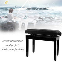 Height Adjustable Piano Stool Chair Piano Keyboard Bench Stool Padded Leather Wood Seat Music Room Furniture