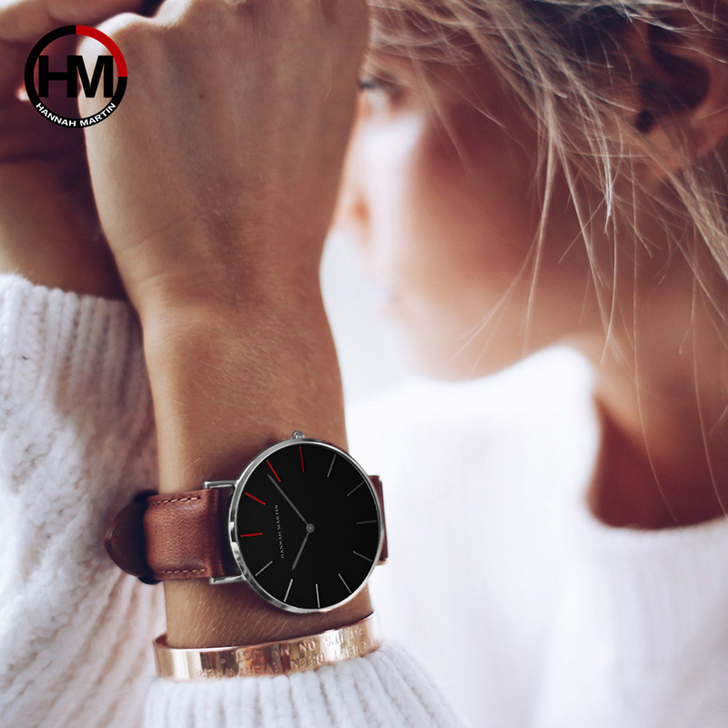 2018 Dropshipping Japan Quartz Movement Uhren Dame Creative Women Watch Clock luxury Black Leather Ladies Watch Reloj Mujer 36mm
