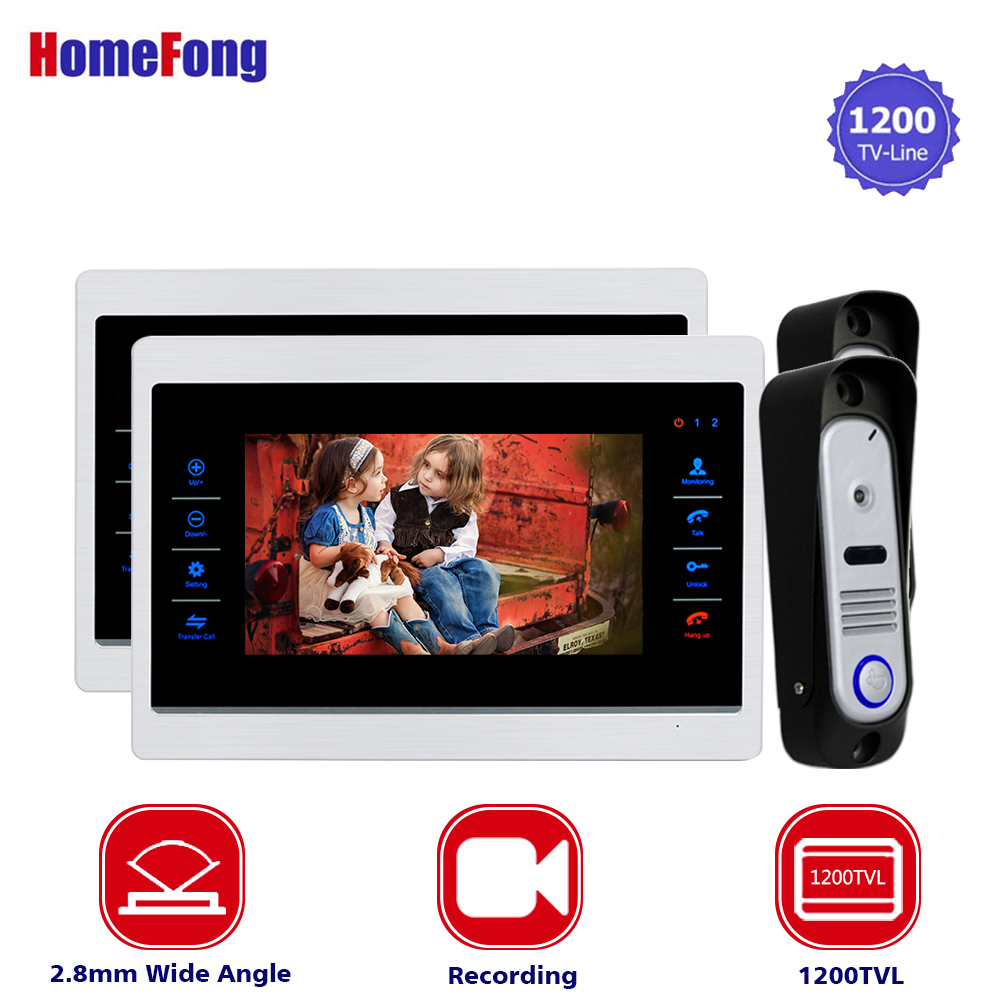 Homefong New 7 inch Video Doorbell Monitor Intercom With 1200TVL Outdoor Camera IP65 Door Phone Intercom System Wide Angle 2.8mm homefong 4 inch monitor lcd color video record door phone doorbell intercom system night vision 1200tvl high resolution