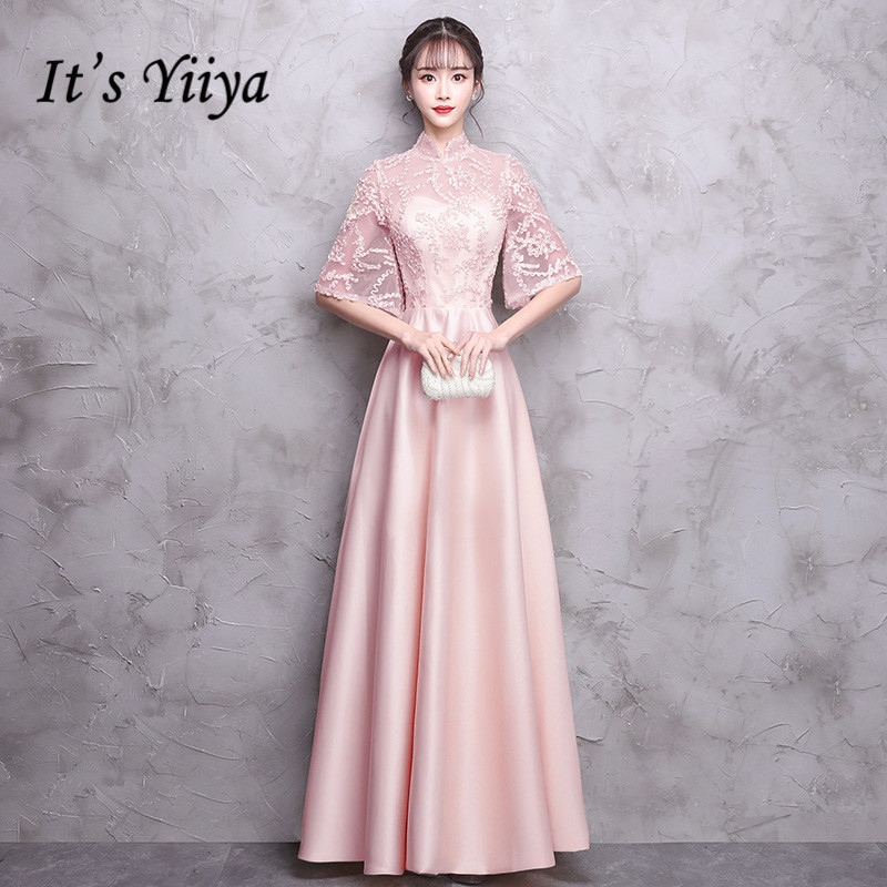 It's YiiYa   Bridesmaid     Dress   Elegant Half Sleeve 6 Colors A-line Party   Dresses   Girls Fashion Long Gown For   bridesmaid   E042