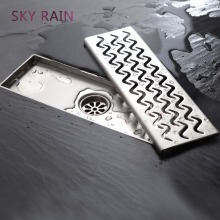 SKY RAIN High Quality 304 Stainless Steel Rustproof Linear Shower Drain Rectangle Types Of Floor