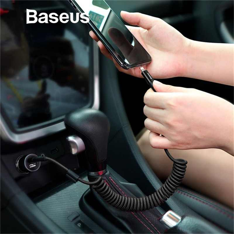 Baseus Spring USB Cable for iPhone Charger in Car 2A Fast Charging Data Cable USB for Car Styling Storage Wire for iPhone